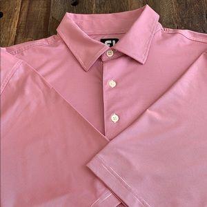 FootJoy Short Sleeve Golf Shirt 2XL Pink/White